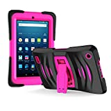 Amazon Fire 7 2017 Case, EpicGadget 7th Generation Fire 7 Heavy Duty Hybrid Wave Case Full Protection Cover with Kickstand and Built-in Screen Protector For Amazon Fire 7 (2017) (Black/Pink)