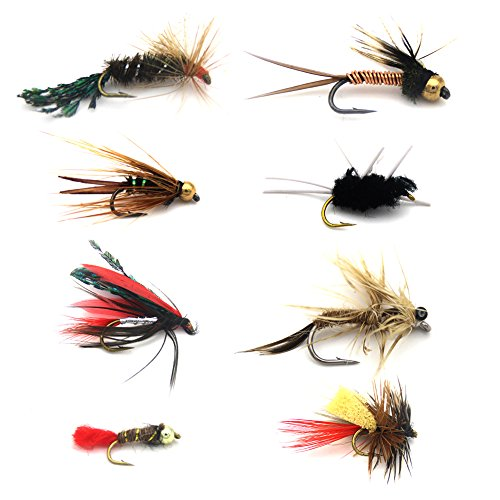 FlySoul Fly Fishing Flies Kit Handmade Fly Fishing Lures-Dry/Wet Flies,Streamer, Nymph, Emerger with Waterproof Fly Box (8 PCS Nice Flies+Portable Fly Box) ()
