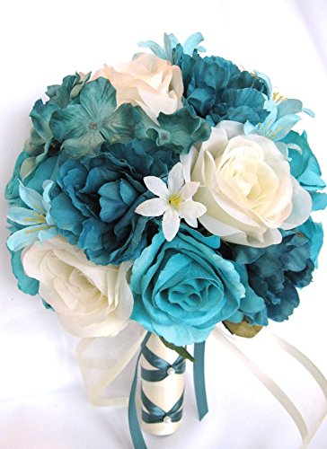 Amazon wedding bouquets bridal silk flowers turquoise teal aqua wedding bouquets bridal silk flowers turquoise teal aqua cream 17 piece package wedding bouquet centerpiece flower mightylinksfo