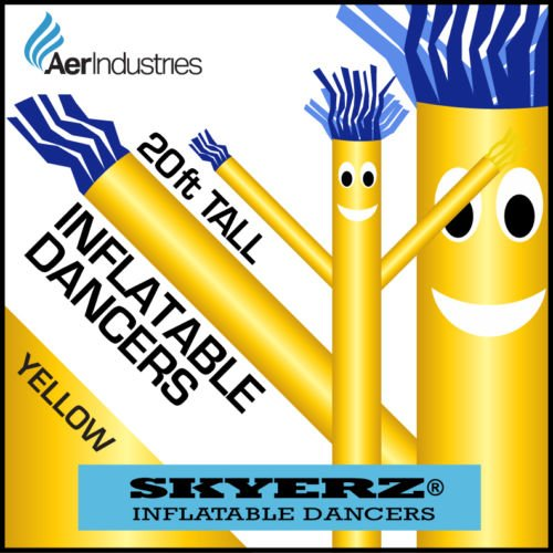 [20FT Yellow Skyer Wacky Waving Inflatable Fly Sky Guy Puppet Advertising Dancing Tube] (Inflatable Wacky Waving Tube Man)