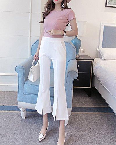 Bianco Dritti Slim Pantaloni Eleganti Vita Donna Ufficio Pantaloni Alta Guiran Classici Gamba Svasata w6SRF7Znq