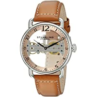 Stuhrling Original Men's 'Bridge' Mechanical Hand Wind Stainless Steel and Leather Casual Watch, Color:Brown (Model: 976.02)