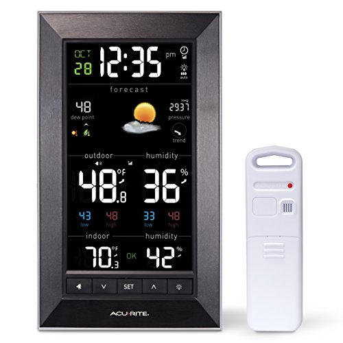 AcuRite 01121M Vertical Wireless Color Weather Station (Dark Theme) with Temperature Alerts (Weather Trend Station Weather)