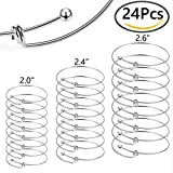 Outee 24 PCS Adjustable Wire Blank Bracelet Expandable Blank Bangle for DIY Jewelry Making