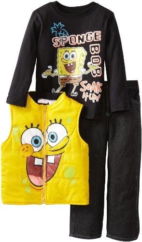 Nickelodeon Little Boys' SpongeBob 3 Piece Comfort Vest Pullover And Pant, Yellow, 4]()