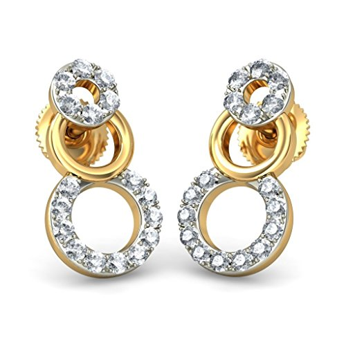 Or jaune 14 K 0,2 CT TW White-diamond (IJ | SI) Boucles d'oreille à tige