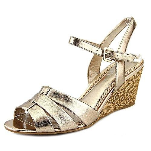 Lätt Anda Kvinna Berdina Öppen Tå Läder Kil Sandal Guld Le
