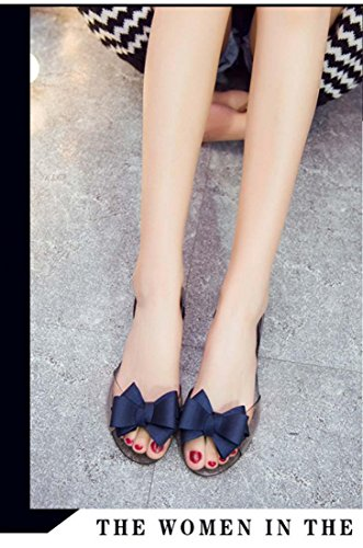 Beach Flat Bow Peep Jelly Crystal Toe Transparent Sandal Blue IqTCznwK