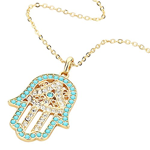 Liavy's Turquoise Hamsa Charm Pendant Fashionable Necklace - Sparkling Crystal - 18
