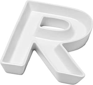 Sweese 708.918 Porcelain Letter Candy Dish, Letter R, White - Decorative Serving Dish for Valentine's Day, Weddings, Anniversaries, Birthday Party, Table Decoration