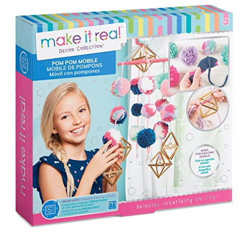 (Make It Real - Pom Pom Mobile. DIY Hanging Mobile Art Kit for Girls Room Decor. Includes Pom Pom Maker, Charms, Yarn and More)