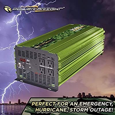 Power Bright 3500 Watt 24V Power Inverter, Four 110V AC Outlets, Modified Sine Wave, Automotive Back Up Power Supply Perfect for an Emergency, Hurricane, Storm or Outage - CE Approved: Car Electronics