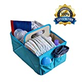 Foldable Large Baby Diaper Blue Caddy Organizer with EBook – Best Portable Stacker & Sturdy Storage Caddie | Personalized Cloth Tray for Infant | Stylish Boy/Girl Travel Basket | Baby Shower Gift