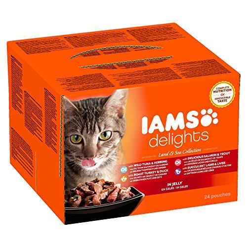 Iams Delights Land and Sea Collection Nassfutter (für erwachsene Katzen mit verschiedenen Fleisch- und Fisch-Sorten in Gelee, Multibox) 24 Frischebeutel (24 x 85 g)