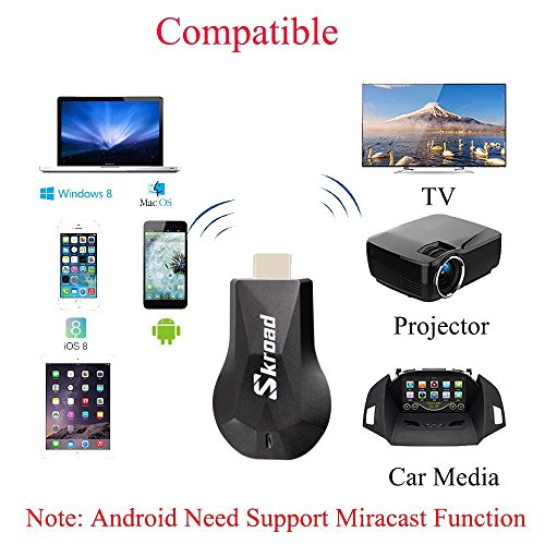Wireless Dongle,Screen Mirror,1080P Mini Wireless Display Receiver HDMI TV Miracast DLNA Airplay for Projector/IOS/Android/Windows/Mac,Support Netflix by SKROAD (Image #1)