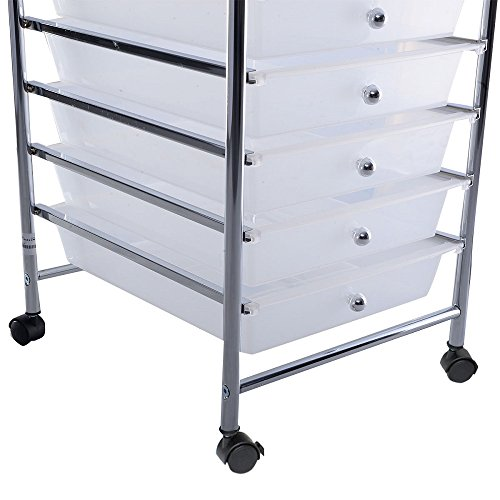 Clear 10 Drawer Rolling Storage Cart Scrapbook Paper Office School Organizer by HKStorage (Image #2)