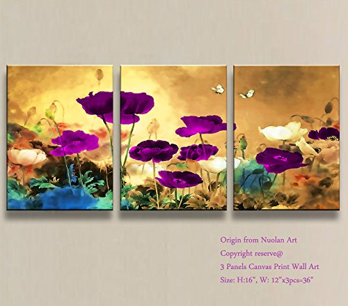 "Canvas Print Wall Art -Stretched and Framed Giclee Prints ""Blooming Poppies"" Purple Flowers Artwork Picture Paintings for Wall Decor/Home Decorations- Nuolan Art-P3L3040-017"