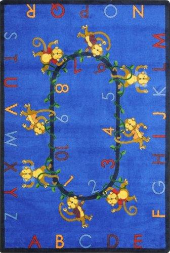 Joy Carpets Kid Essentials Early Childhood Monkey Business Rug, Blue, 5