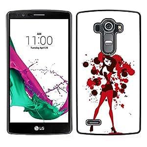// PHONE CASE GIFT // Duro Estuche protector PC Cáscara Plástico Carcasa Funda Hard Protective Case for LG G4 / Sexy Bunny Girl White Blood Red /