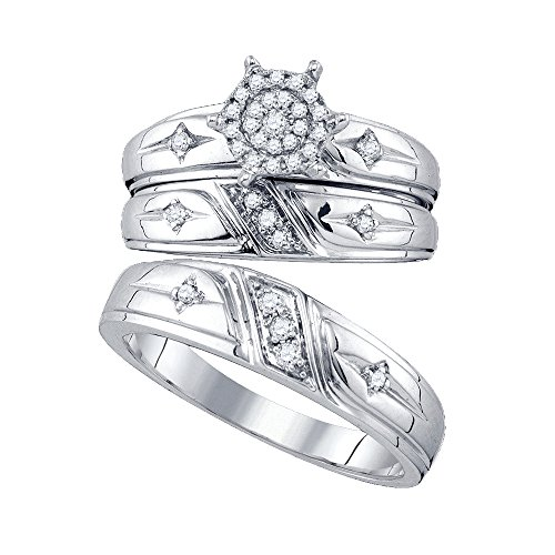Illusion Set Cross - Jewels By Lux 10kt White Gold His & Hers Round Diamond Cross Cluster Matching Bridal Wedding Ring Set 1/4 Cttw Ring Size 5.5