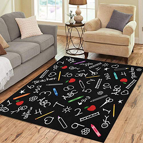 Semtomn Area Rug 5' X 7' Back to School Blackboard Chalk Drawings Crayons Markers Rulers Home Decor Collection Floor Rugs Carpet for Living Room Bedroom Dining Room (Crayons Rug)