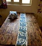 Grey Otomi table runner, hand embroidered by the Otomi from Mexico.
