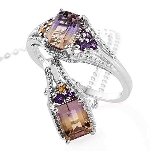 Silver Platinum Plated Octagon Ametrine, Multi Gemstone Ring Size 6 Pendant Set with Chain 20
