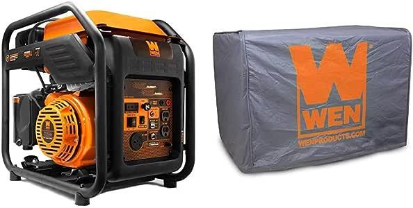 WEN GN400i RV-Ready 4000-Watt Open Frame Inverter Generator, CARB Compliant, Black/orange & 56310iC Universal Weatherproof Inverter Generator Cover, Large, Grey