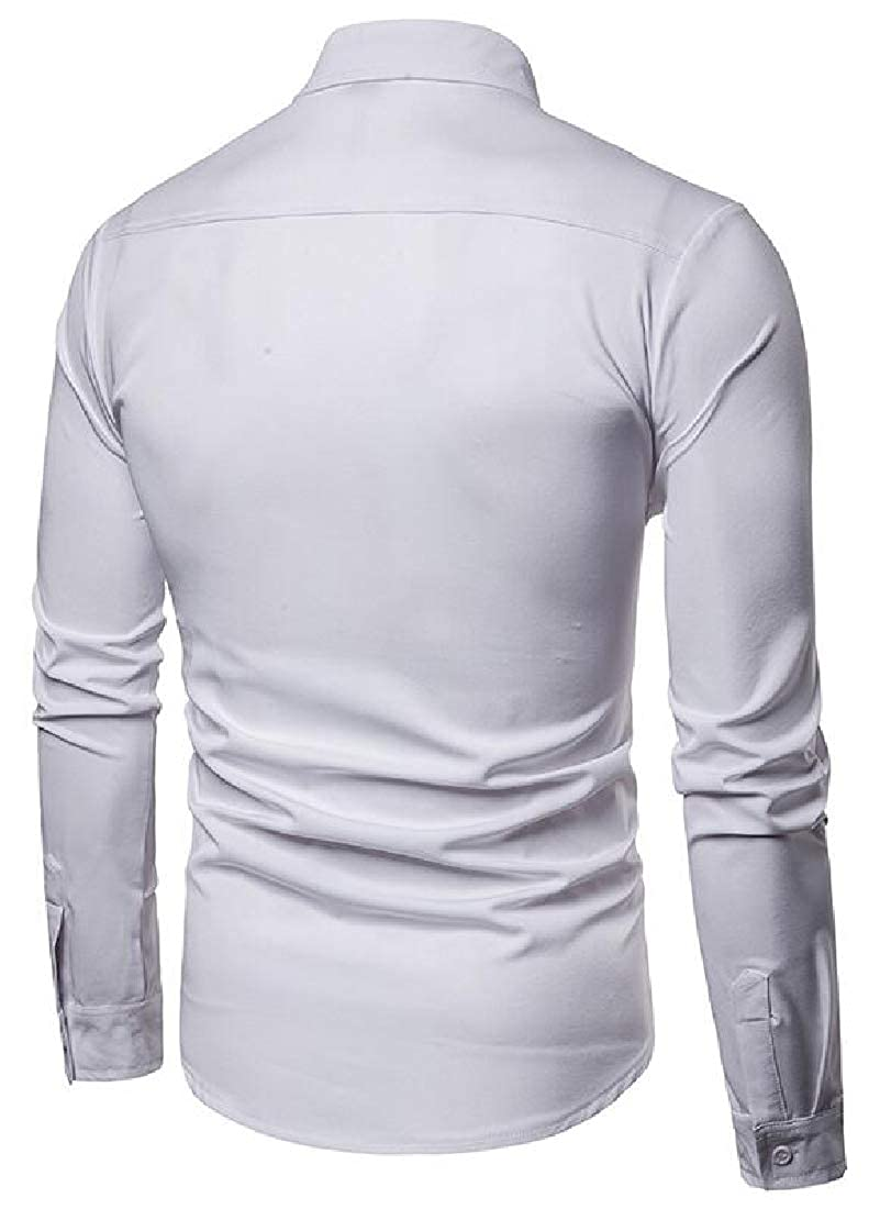 Mstyle Mens Long Sleeve Turn Down Collar Vogue Classic Pure Color Button Down Shirts Tops