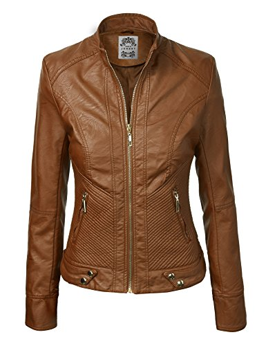 CTC WJC747 Womens Dressy Vegan Leather Biker Jacket M CAMEL