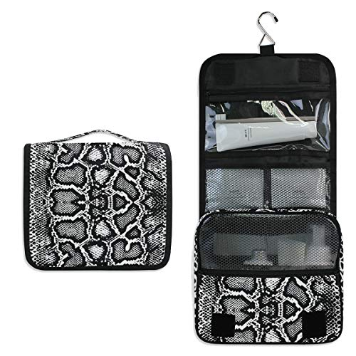 AUUXVA Hanging Toiletry Bag Animal Snake Print Travel Cosmetics Bag Portable Toiletry Kit for Women Men