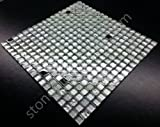 Vogue Premium Quality Silver Glass Stainless Steel Square Mosaic Tile for Backsplash and Bathroom Wall Designed in Italy (12x12)
