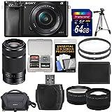 Sony Alpha A6000 Wi-Fi Digital Camera & 16-50mm & 55-210mm Lens with 64GB Card + Case + Battery + Tripod + Tele/Wide Lens Kit