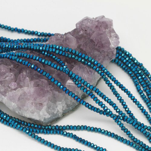 Chinese Beads Faceted Round Crystal (100 pcs 3x2mm Chinese Crystal Glass Beads Faceted Rondelle Metallic Blue)