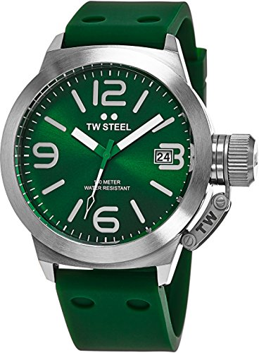 TW Steel Canteen Watch Mens - Green Dial Date TW Steel Watch Mens - Green Silicone Rubber Band 45mm Stainless Steel Watch TW505