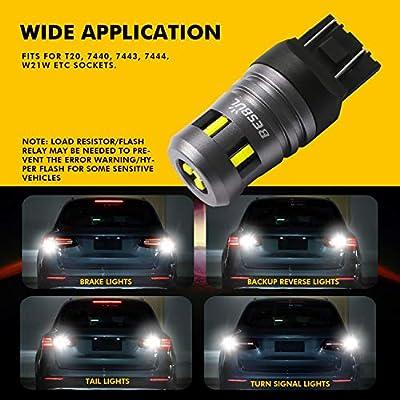 Besbul 7440 LED Bulb, Extremely Bright 7443 LED Bulb, W21W T20 LED Bulb High Lumens 12V-40V For Turn Signal Light, Tail Light, Brake Light, Backup Light, Parking Light 6000K White, Pack of 2: Automotive
