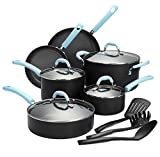 Finnhomy Super Value Hard-Anodized Aluminum Cookware Set, Double Nonstick Coating Kitchen Pots and Pan Set, Professional for Home Restaurant, 13-Piece with Blue Handle