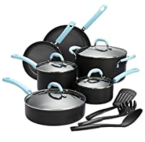 Finnhomy Super Value Hard-Anodized Aluminum Cookware Set, Double Nonstick Coating Kitchen Pots and Pan Set, 13-Piece with Blue Handle