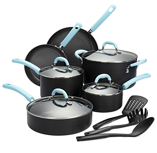Finnhomy Super Value Hard-Anodized Aluminum Cookware Set, Double Nonstick Coating Kitchen Pots and Pan Set, 13-Piece with Blue Handle (Stainless Restaurant Cookware)