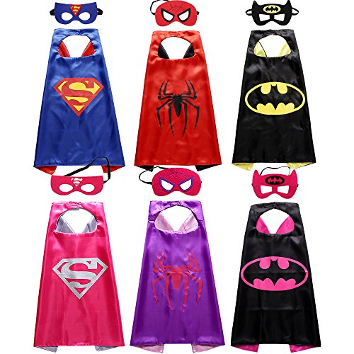 Hero Dress Up Costumes (Sholin Comics Cartoon Superhero Satin Capes Dress Up Costumes 6 Pack with Felt Masks)