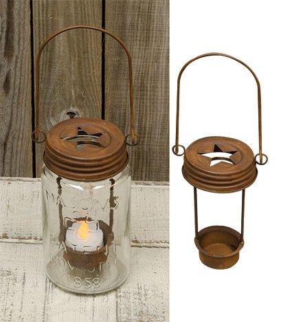 Amazoncom Mason Jar Star Lid Tea Light Holder Rusty Finish