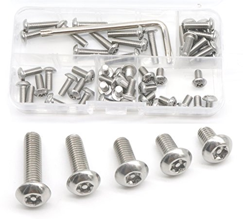 binifiMux 50pcs M5-0.8mm Button Head Torx Security Screws Assortment Kit w T25 Wrench, Stainless Steel, M5x8mm/ 10mm/ 12mm/ 16mm/ 20mm, Tamper Proof Screws