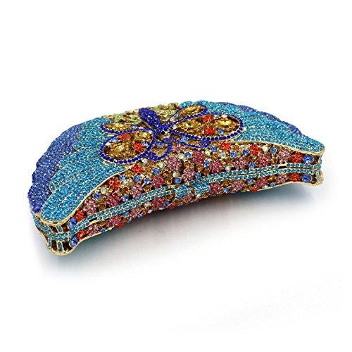 Dragonfly Women Blue Crystal Evening Purse Evening Banquet Clutches Bag Handbag rvvUax4wE