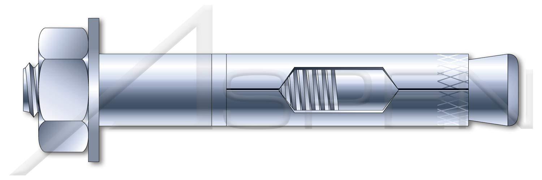 Zinc Plated 5//8 X 4-1//4 Hex Nut Sleeve Anchors 10 pcs Steel