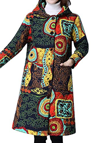 SYTX Womens Winter Chinese Style Print Hooded Mid-Length Quilted Coat Overcoat