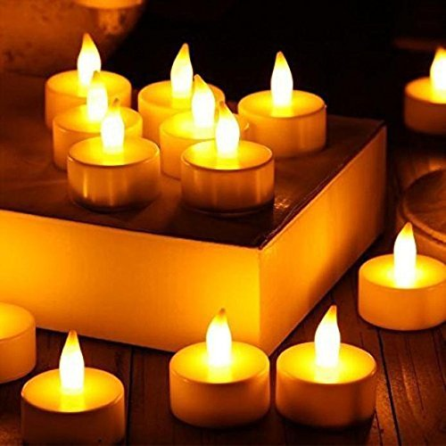 (Coohole Realistic and Bright Flickering Bulb Battery Operated Flameless LED Tea Light for Seasonal & Festival Celebration, Pack of 6, Electric Fake Candle in Warm White and Wave Open (Yellow))