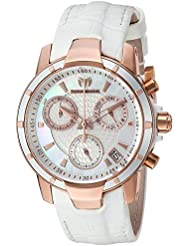 Technomarine Womens UF6 Quartz Gold and Leather Casual Watch, Color:White (Model: TM-615003)
