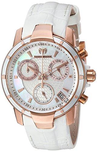 Technomarine Women's UF6 Gold Quartz Watch with Leather Calfskin Strap, White, 20 (Model: TM-615003