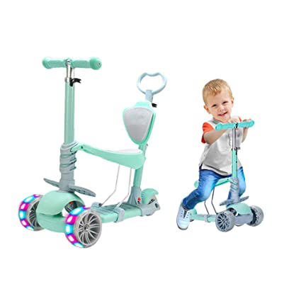 5 in 1 Kids Kick Scooter, 3 Wheels Walker with Removable Seat and Back Rest, 4 Adjustable Height, Light Up Wheels for Toddlers 1-8 Years Old Support ...