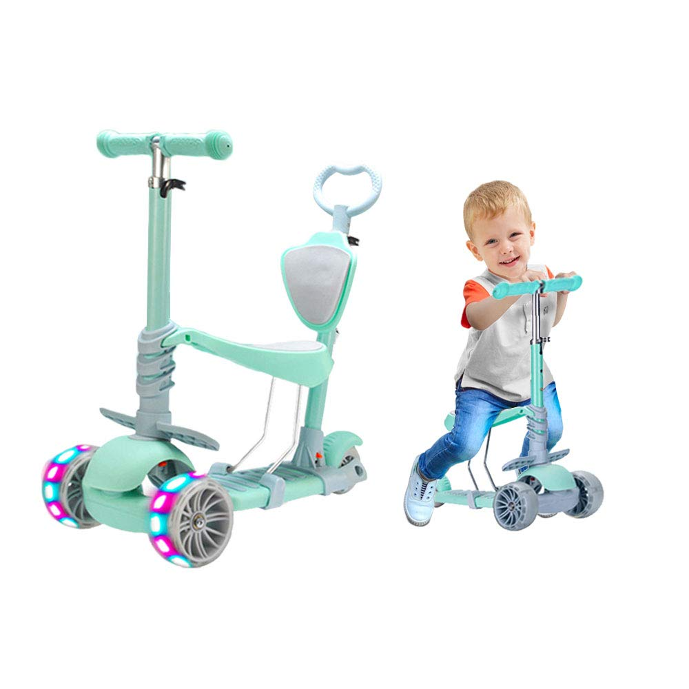 5 in 1 Kids Kick Scooter, 3 Wheels Walker with Removable Seat and Back Rest, 4 Adjustable Height, Light Up Wheels for Toddlers 1-8 Years Old Support 50 kg